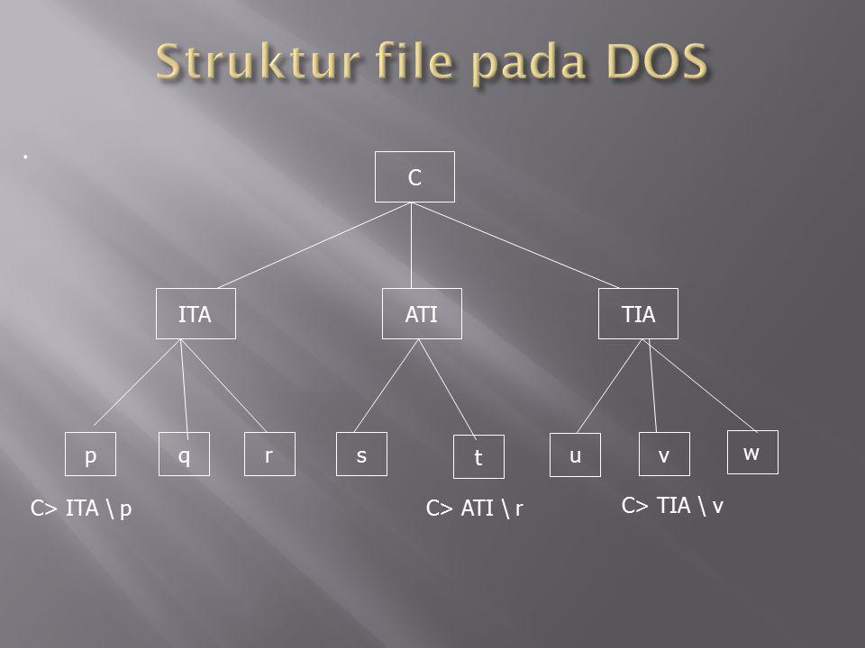 Struktur file pada DOS . C ITA ATI TIA p q r s t u v w C> ITA \ p