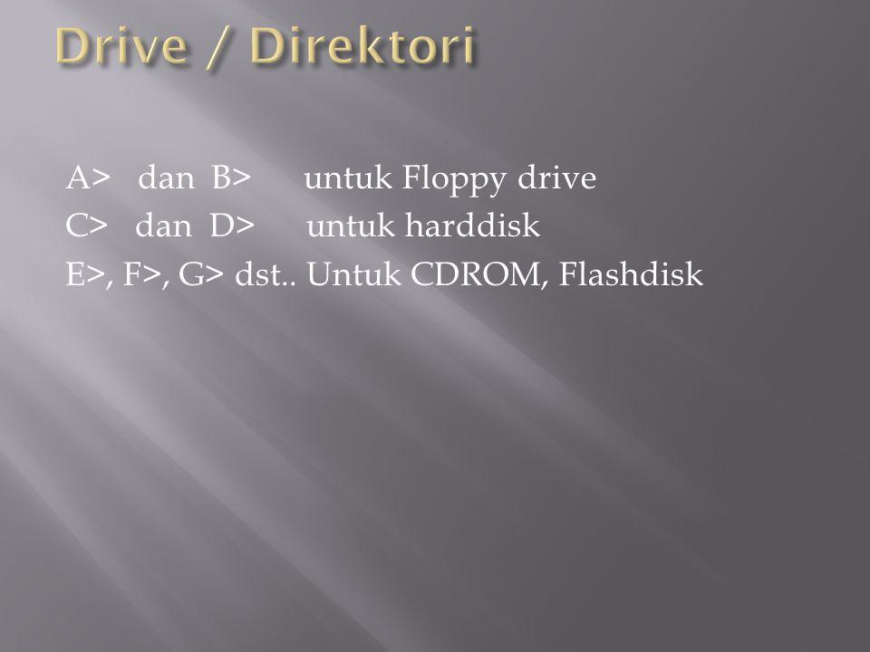 Drive / Direktori A> dan B> untuk Floppy drive C> dan D> untuk harddisk E>, F>, G> dst..
