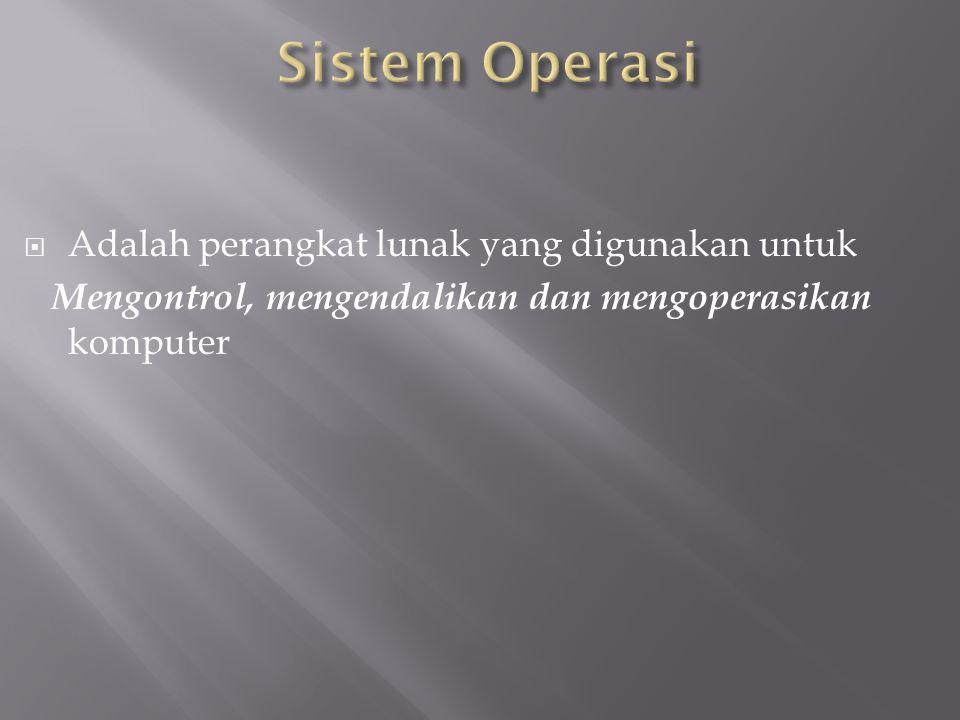 Sistem Operasi Adalah perangkat lunak yang digunakan untuk