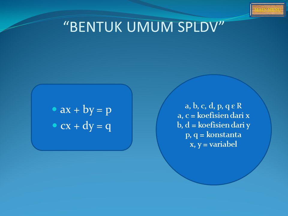 BENTUK UMUM SPLDV ax + by = p cx + dy = q a, b, c, d, p, q ε R