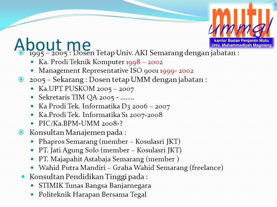 About me 1995 – 2005 : Dosen Tetap Univ. AKI Semarang dengan jabatan :