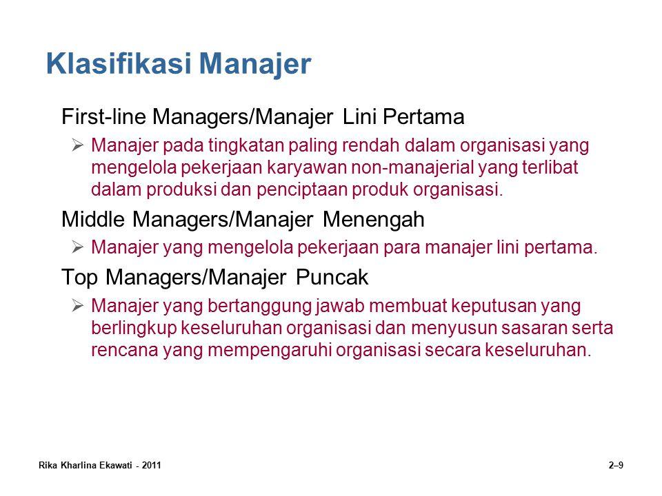 Klasifikasi Manajer First-line Managers/Manajer Lini Pertama