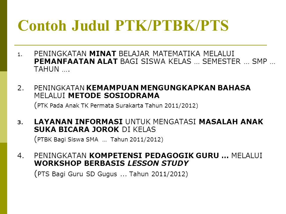 Contoh Judul PTK/PTBK/PTS