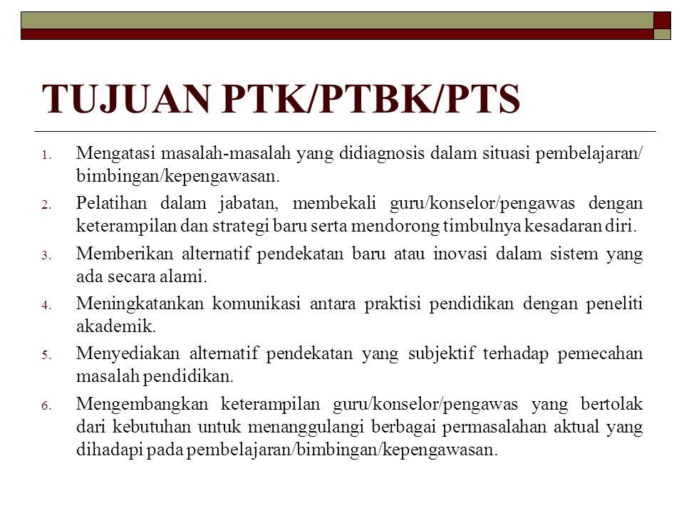 TUJUAN PTK/PTBK/PTS Mengatasi masalah-masalah yang didiagnosis dalam situasi pembelajaran/ bimbingan/kepengawasan.