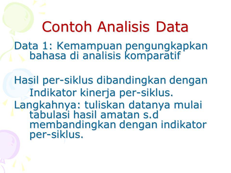 Contoh Analisis Data Data 1: Kemampuan pengungkapkan bahasa di analisis komparatif. Hasil per-siklus dibandingkan dengan.