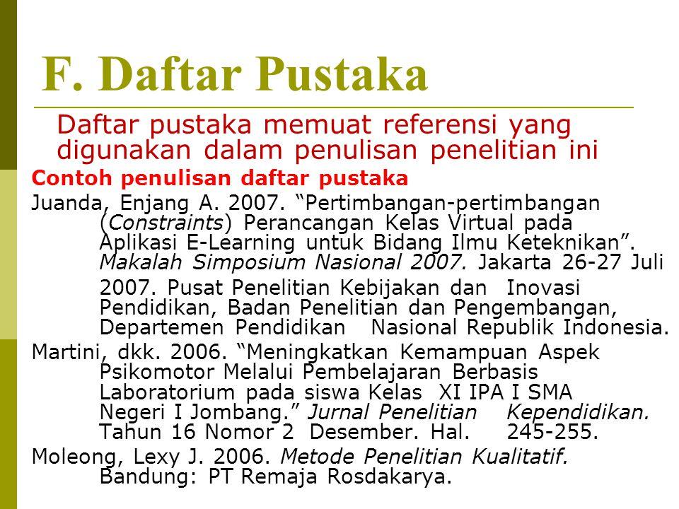 F. Daftar Pustaka Contoh penulisan daftar pustaka
