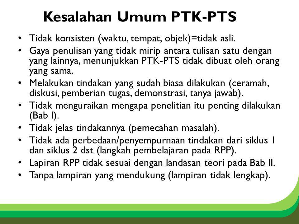 Kesalahan Umum PTK-PTS