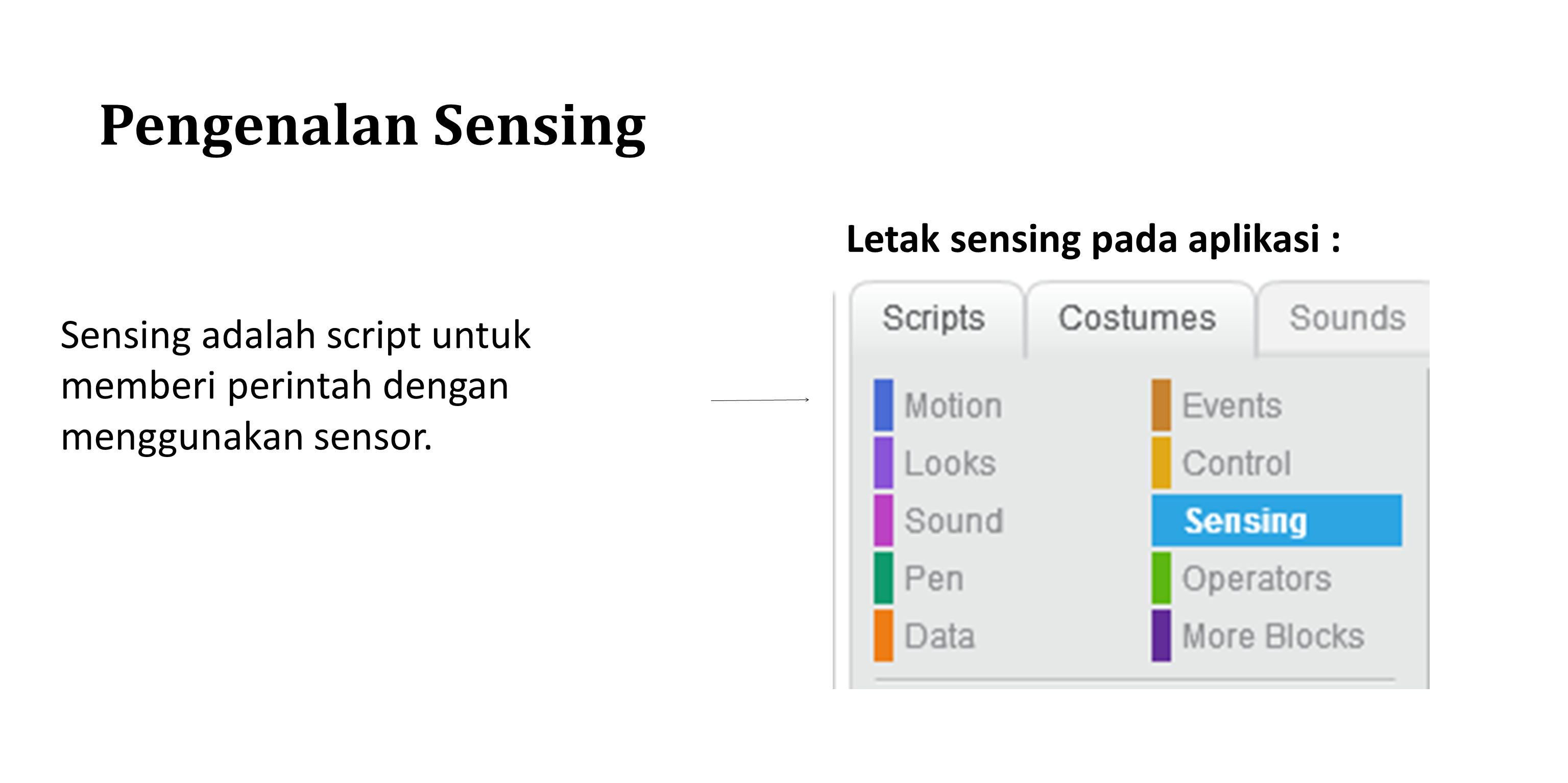 Pengenalan Sensing Letak sensing pada aplikasi :