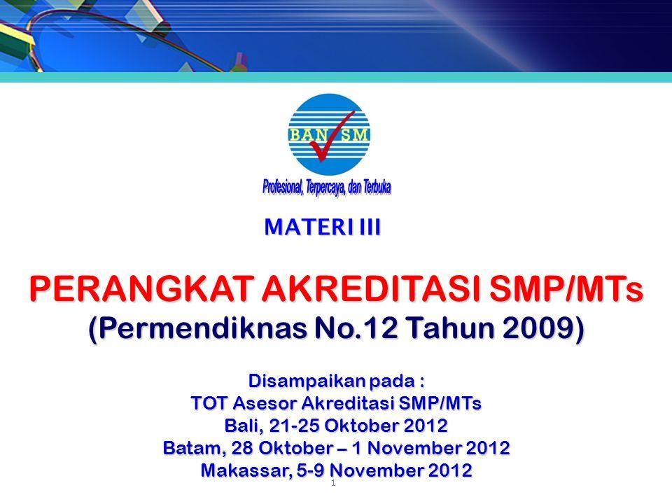 PERANGKAT AKREDITASI SMP/MTs (Permendiknas No.12 Tahun 2009)