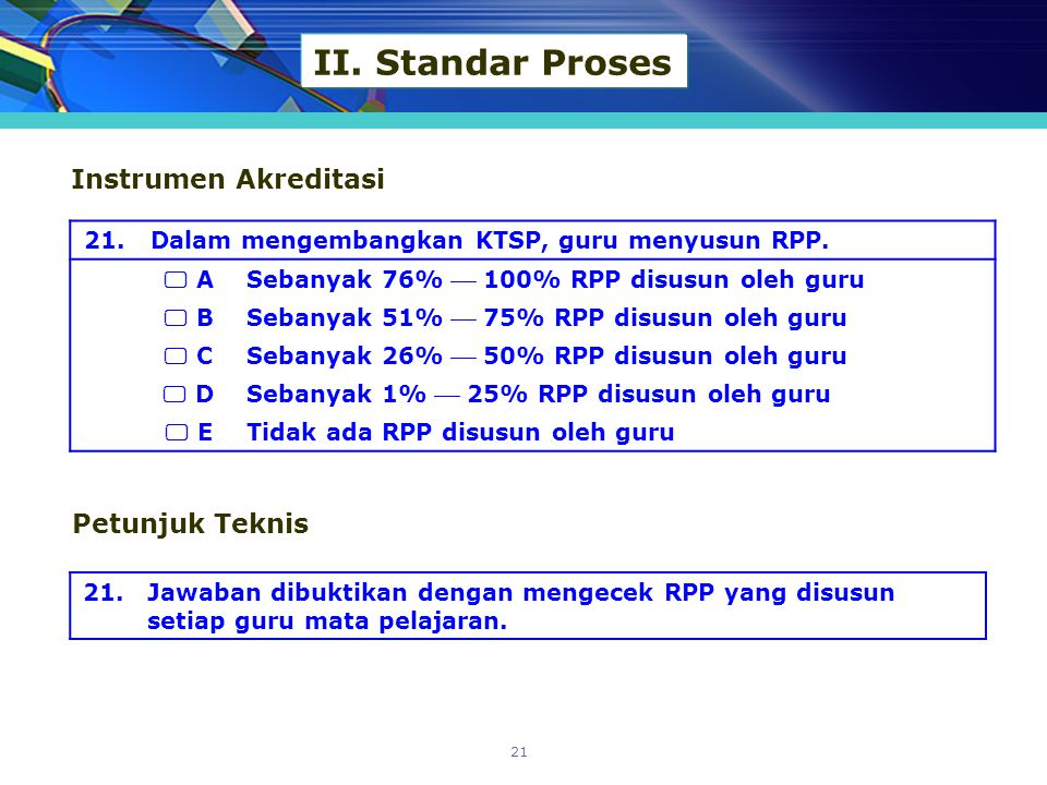 II. Standar Proses Instrumen Akreditasi Petunjuk Teknis 21.
