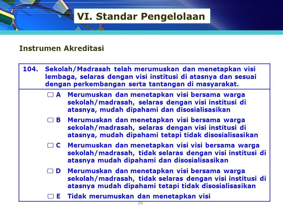 VI. Standar Pengelolaan