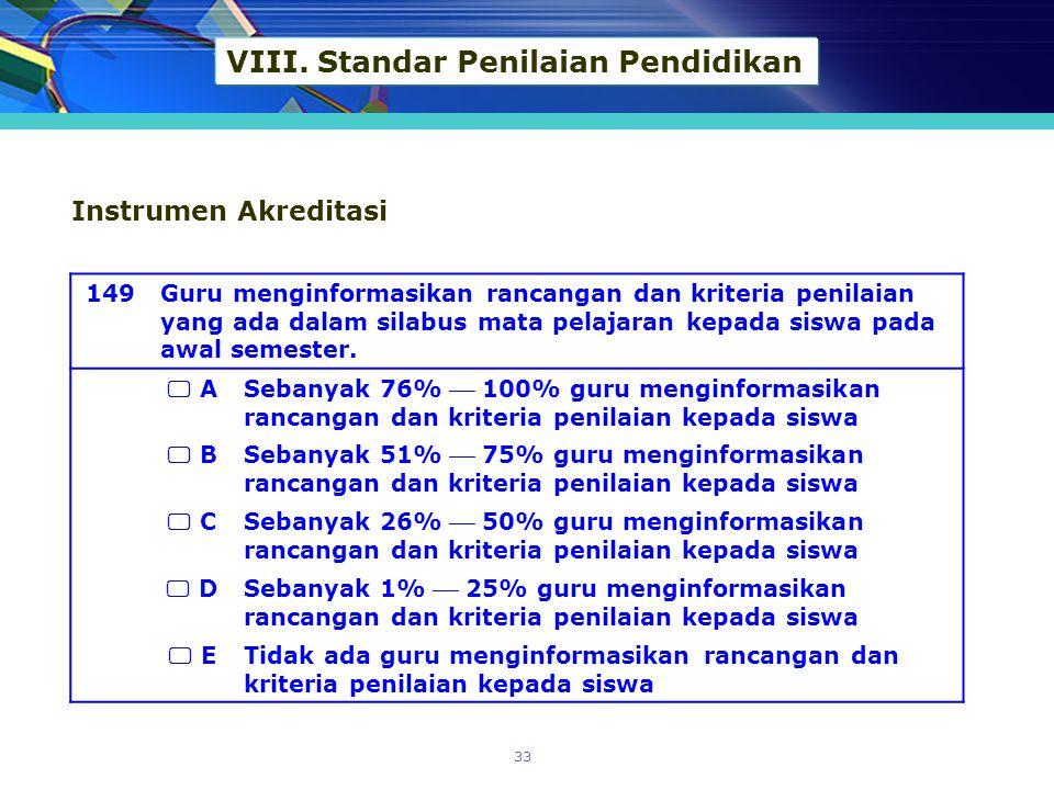 VIII. Standar Penilaian Pendidikan