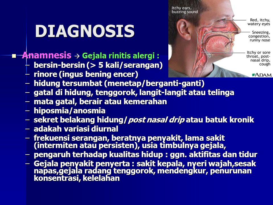 DIAGNOSIS Anamnesis  Gejala rinitis alergi :