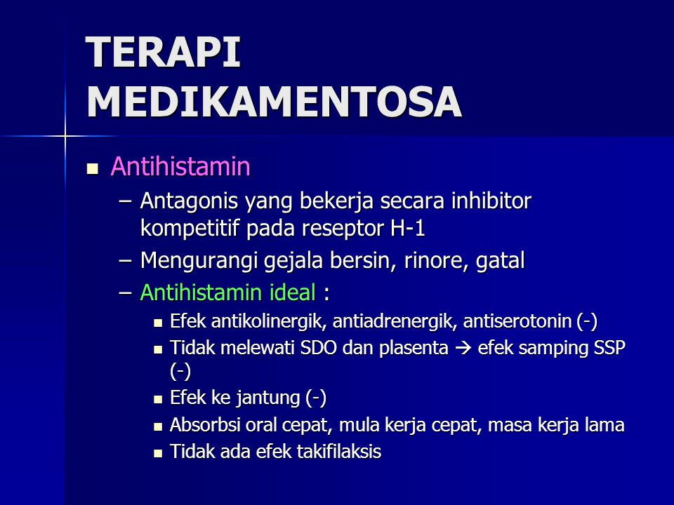 TERAPI MEDIKAMENTOSA Antihistamin