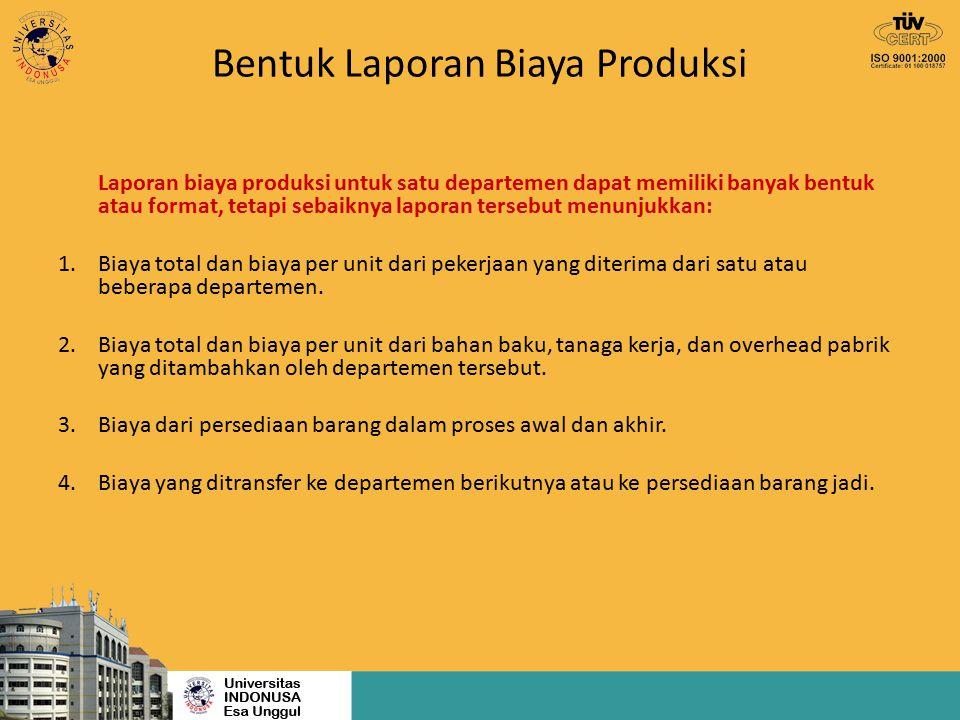 Bentuk Laporan Biaya Produksi