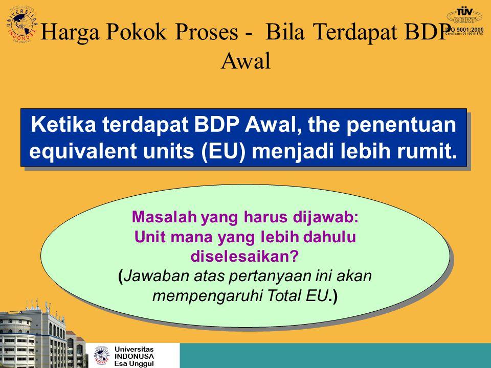 Harga Pokok Proses - Bila Terdapat BDP Awal