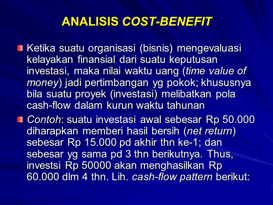 ANALISIS COST-BENEFIT