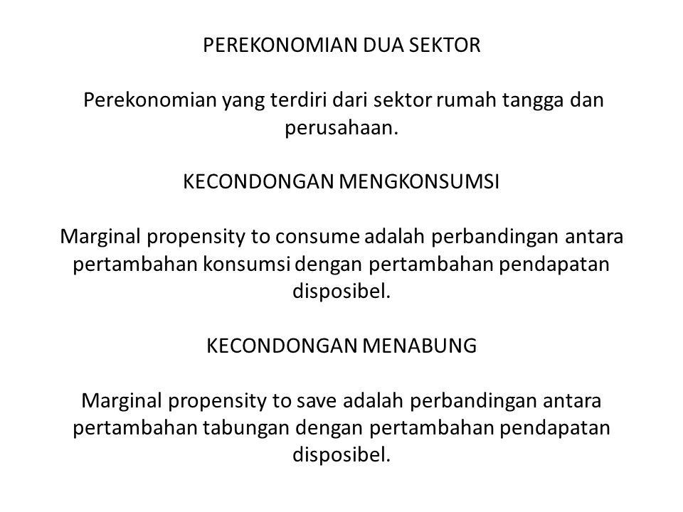 PEREKONOMIAN DUA SEKTOR Perekonomian yang terdiri dari sektor rumah tangga dan perusahaan.
