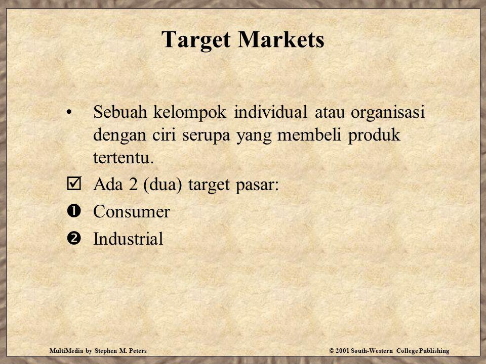 Target Markets Sebuah kelompok individual atau organisasi dengan ciri serupa yang membeli produk tertentu.