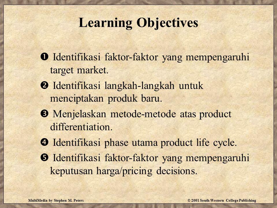 Learning Objectives Identifikasi faktor-faktor yang mempengaruhi target market. Identifikasi langkah-langkah untuk menciptakan produk baru.