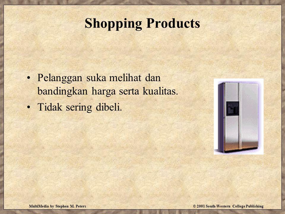 Shopping Products Pelanggan suka melihat dan bandingkan harga serta kualitas. Tidak sering dibeli.