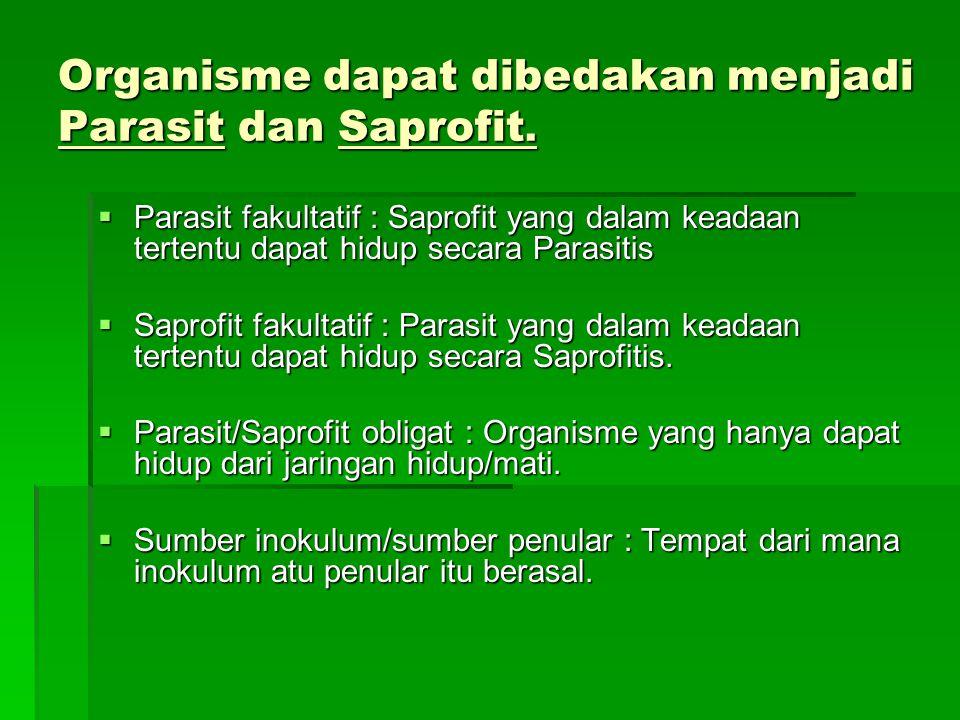 Organisme dapat dibedakan menjadi Parasit dan Saprofit.