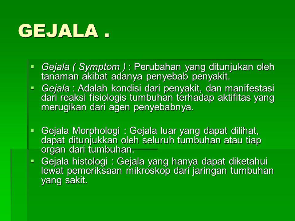 GEJALA . Gejala ( Symptom ) : Perubahan yang ditunjukan oleh tanaman akibat adanya penyebab penyakit.