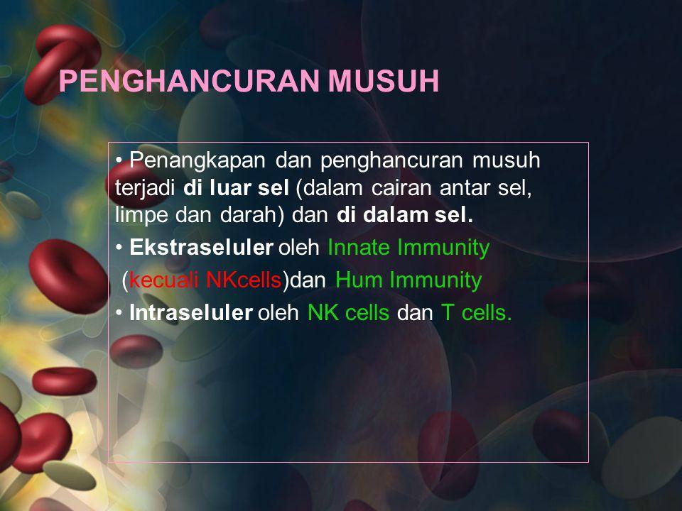 PENGHANCURAN MUSUH Penangkapan dan penghancuran musuh terjadi di luar sel (dalam cairan antar sel, limpe dan darah) dan di dalam sel.