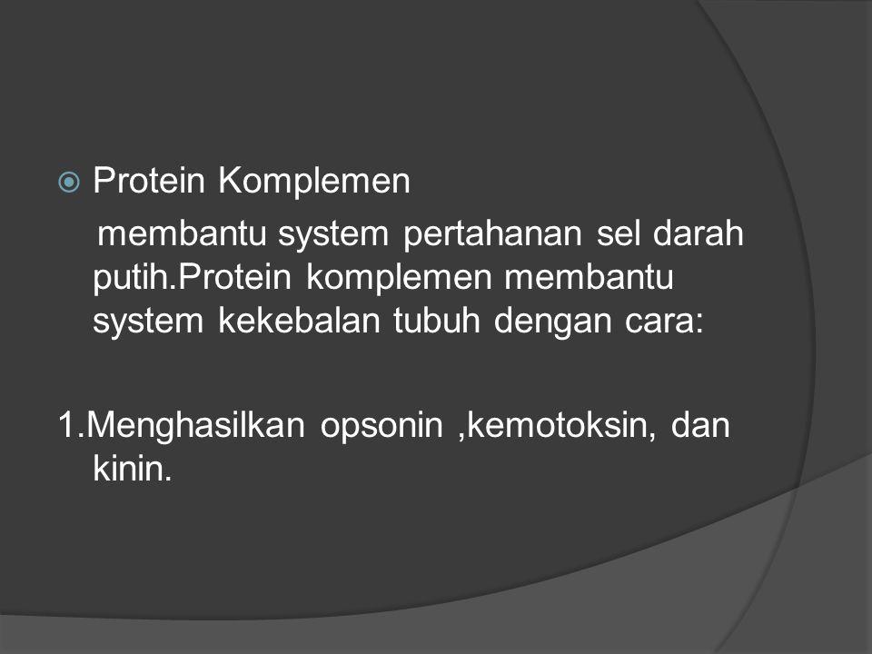 Protein Komplemen membantu system pertahanan sel darah putih.Protein komplemen membantu system kekebalan tubuh dengan cara: