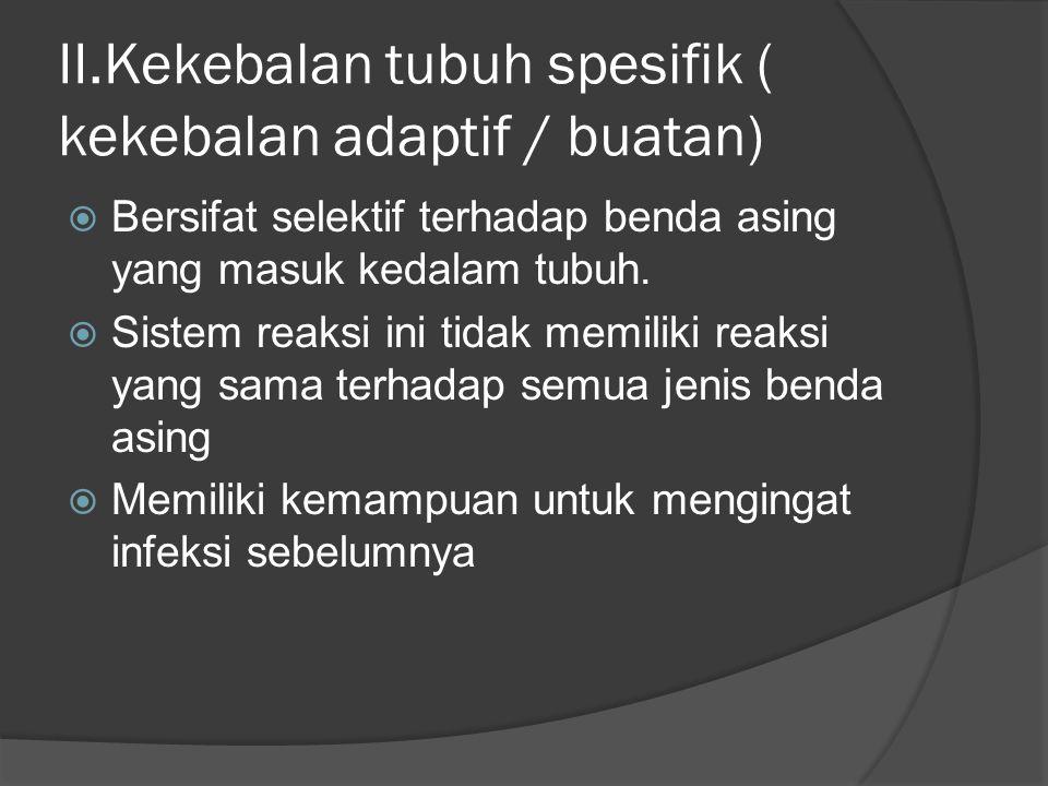 II.Kekebalan tubuh spesifik ( kekebalan adaptif / buatan)