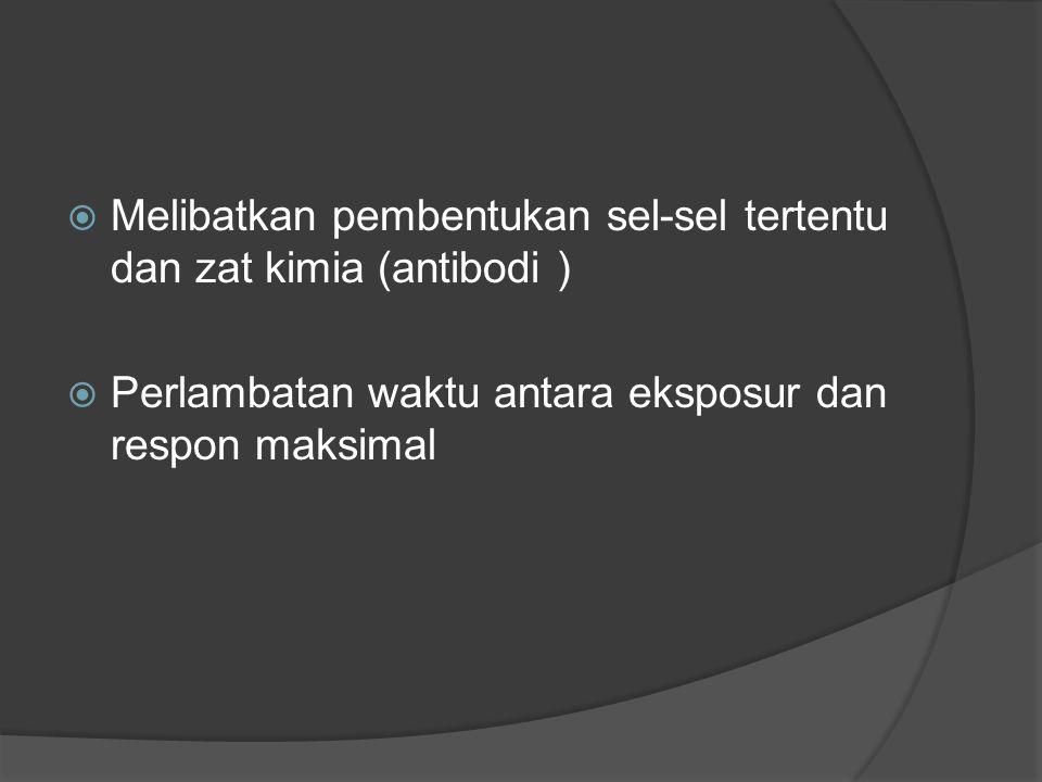 Melibatkan pembentukan sel-sel tertentu dan zat kimia (antibodi )