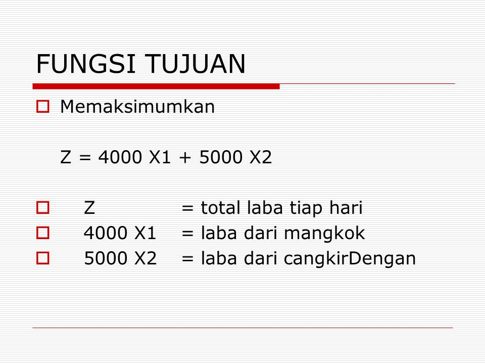 FUNGSI TUJUAN Memaksimumkan Z = 4000 X1 + 5000 X2