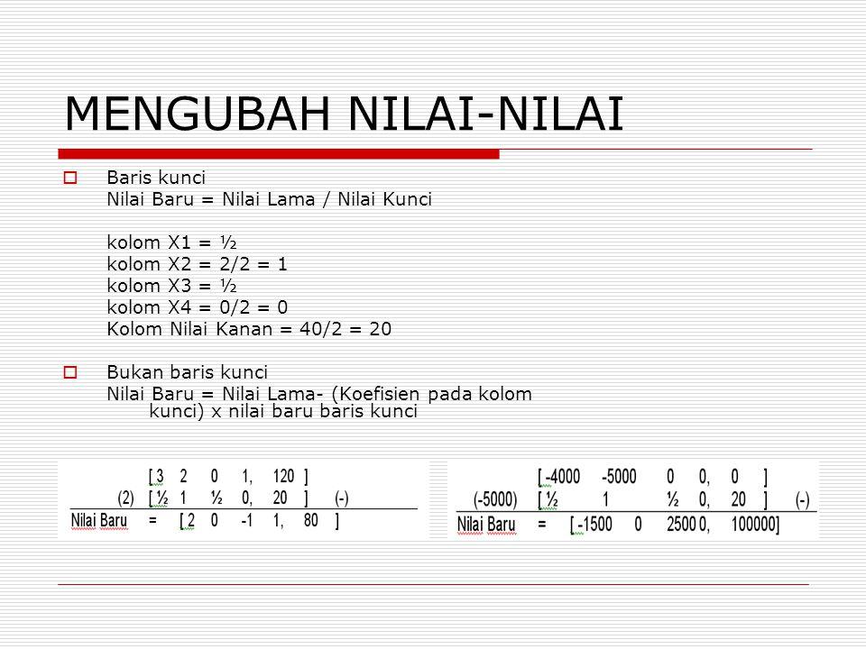MENGUBAH NILAI-NILAI Baris kunci Nilai Baru = Nilai Lama / Nilai Kunci