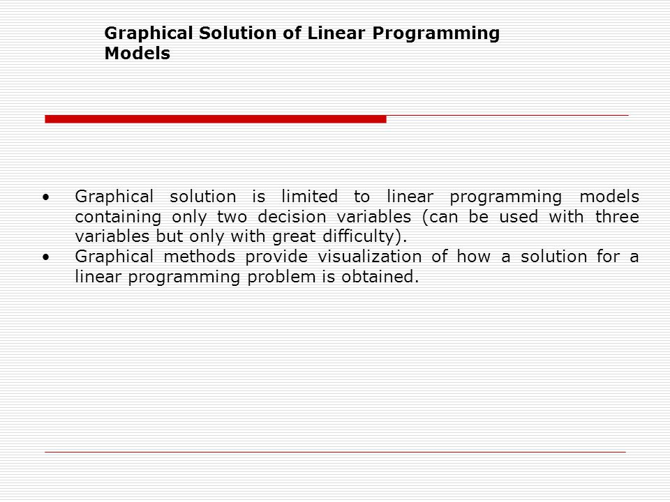 Graphical Solution of Linear Programming Models
