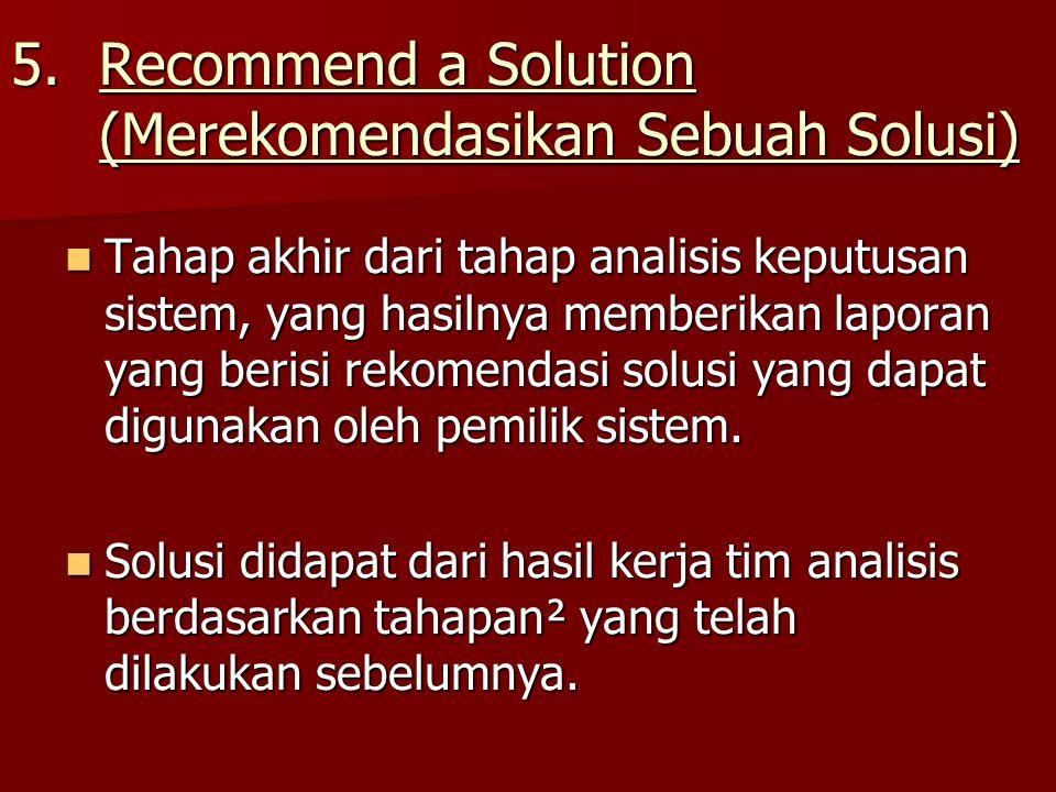Recommend a Solution (Merekomendasikan Sebuah Solusi)