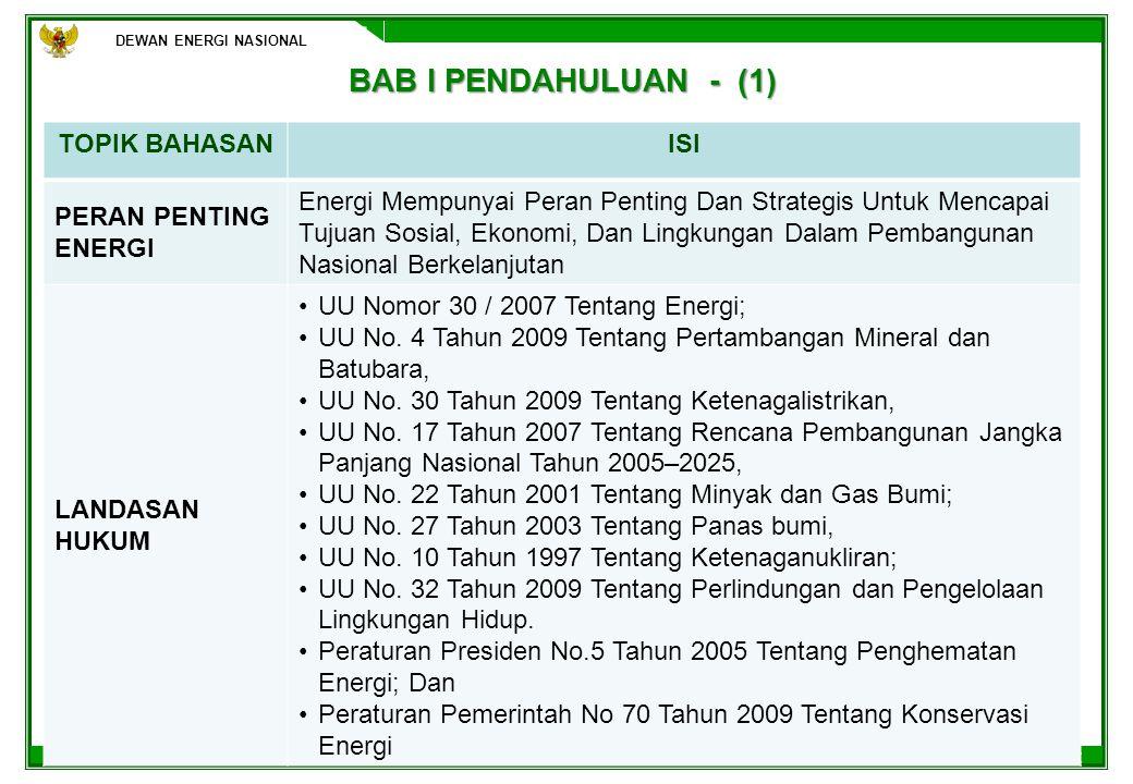 BAB I PENDAHULUAN - (1) TOPIK BAHASAN ISI PERAN PENTING ENERGI