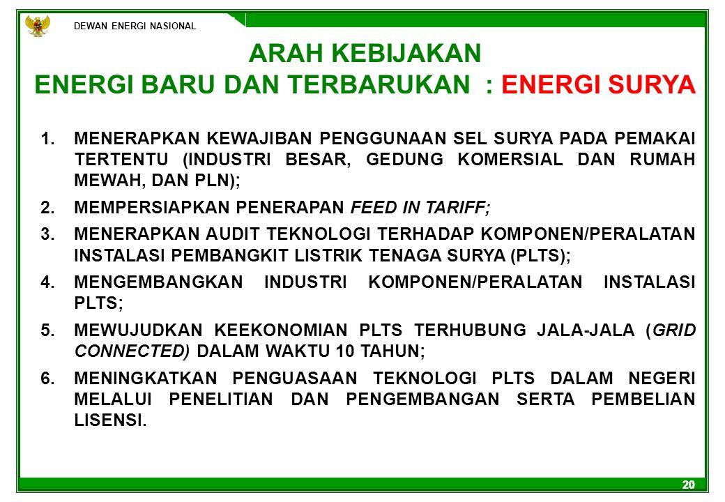 ENERGI BARU DAN TERBARUKAN : ENERGI SURYA