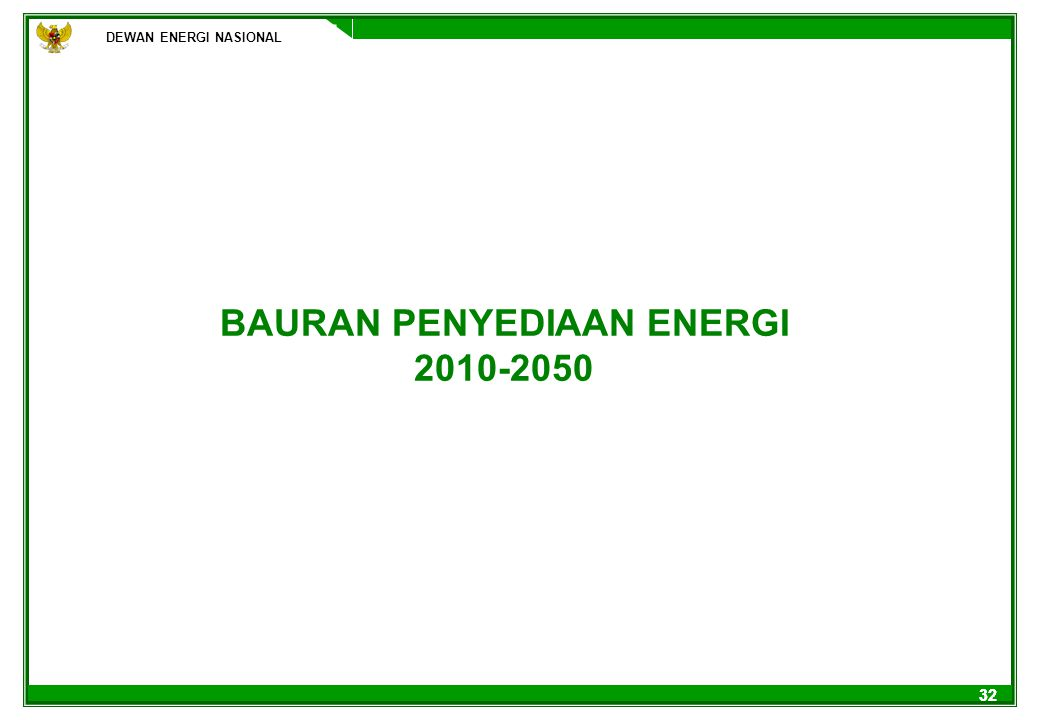 BAURAN PENYEDIAAN ENERGI 2010-2050
