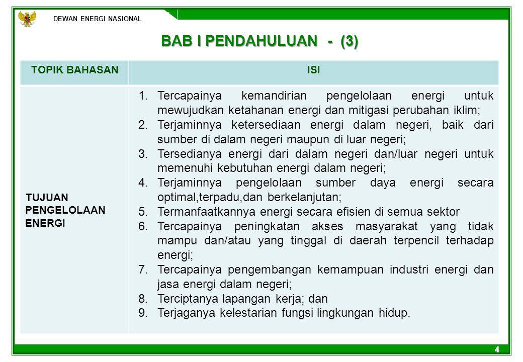 DEWAN ENERGI NASIONAL BAB I PENDAHULUAN - (3) TOPIK BAHASAN. ISI. TUJUAN PENGELOLAAN ENERGI.