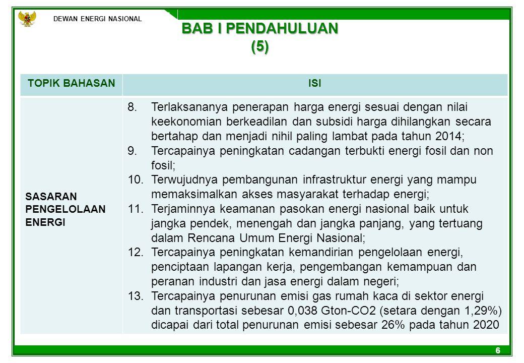 DEWAN ENERGI NASIONAL BAB I PENDAHULUAN (5) TOPIK BAHASAN. ISI. SASARAN PENGELOLAAN ENERGI.