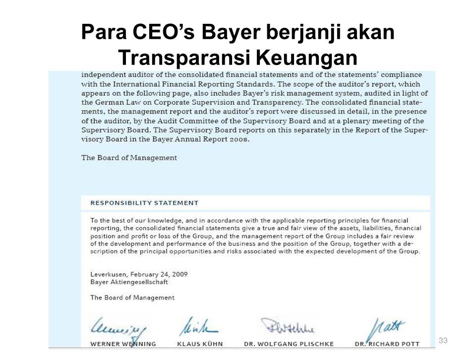 Para CEO's Bayer berjanji akan Transparansi Keuangan