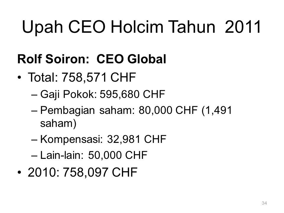 Upah CEO Holcim Tahun 2011 Rolf Soiron: CEO Global Total: 758,571 CHF
