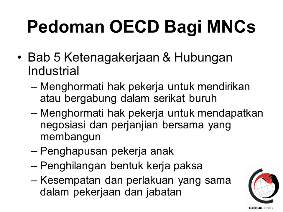 Pedoman OECD Bagi MNCs Bab 5 Ketenagakerjaan & Hubungan Industrial