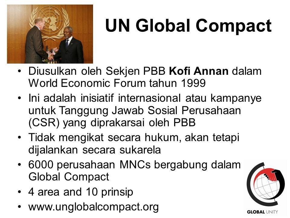 UN Global Compact Diusulkan oleh Sekjen PBB Kofi Annan dalam World Economic Forum tahun 1999.