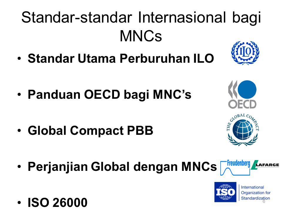 Standar-standar Internasional bagi MNCs