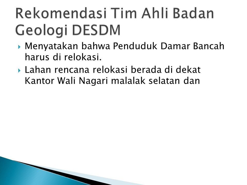 Rekomendasi Tim Ahli Badan Geologi DESDM