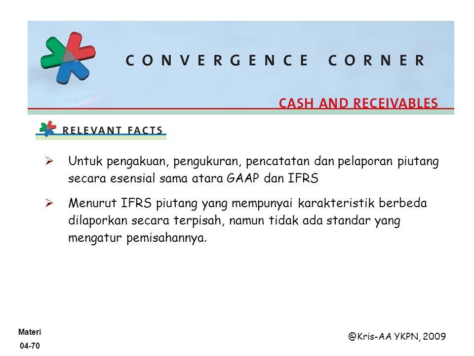 Untuk pengakuan, pengukuran, pencatatan dan pelaporan piutang secara esensial sama atara GAAP dan IFRS