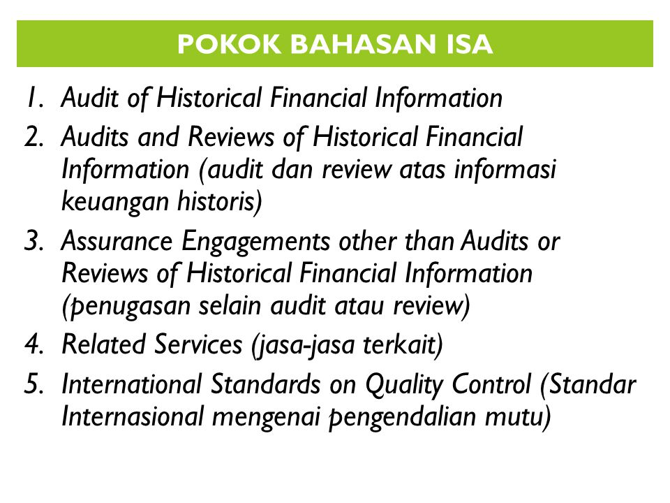 Audit of Historical Financial Information