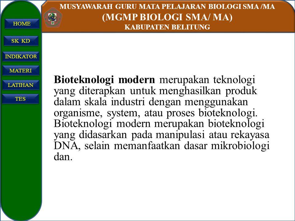Bioteknologi modern merupakan teknologi yang diterapkan untuk menghasilkan produk dalam skala industri dengan menggunakan organisme, system, atau proses bioteknologi.