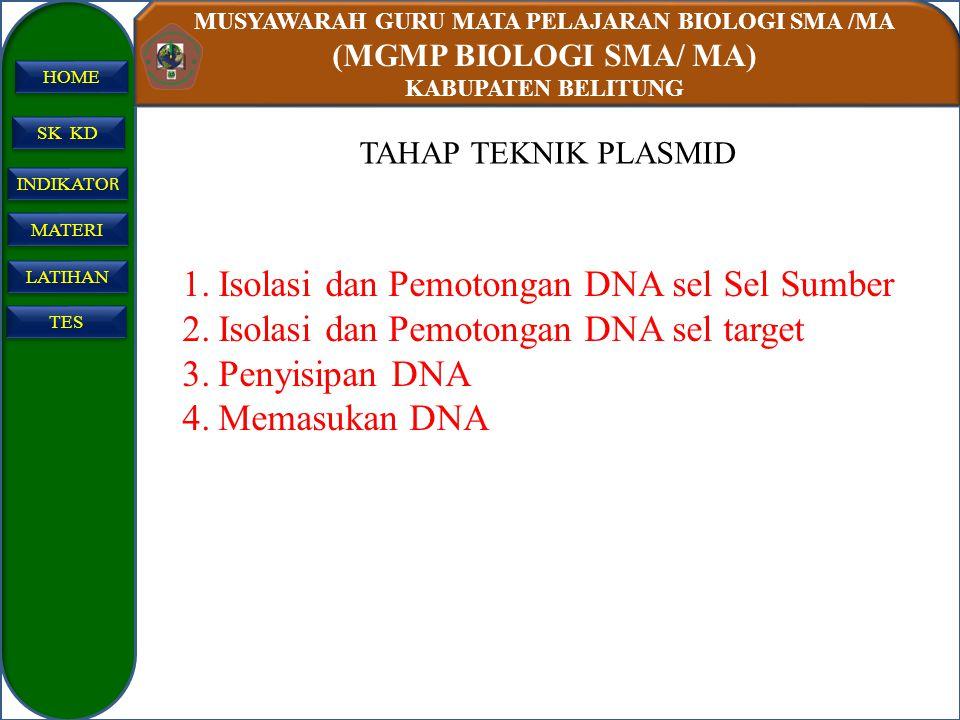 Isolasi dan Pemotongan DNA sel Sel Sumber